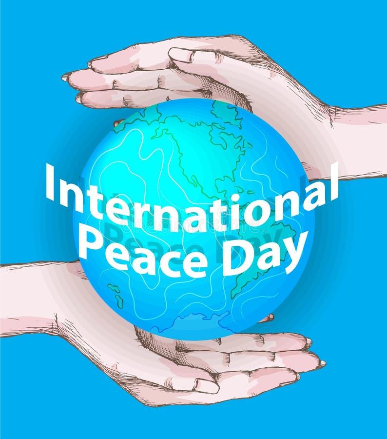 国际和平天 9月21日海报或横幅设计的背景模板 在人的平安的行星地球 库存例证