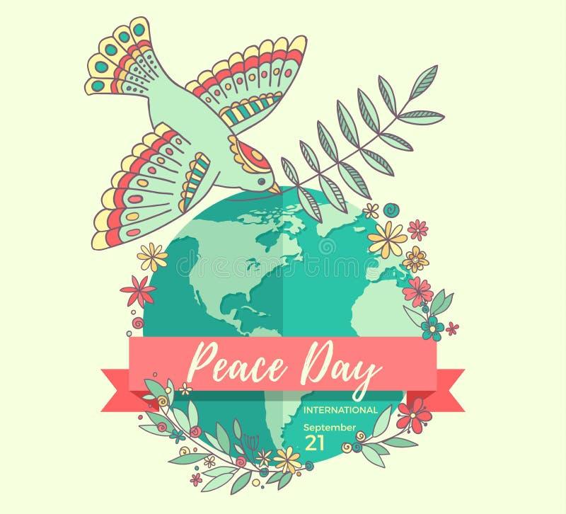 国际和平天 9月21日 和平潜水与在行星长满的花的橄榄树枝 拉长的现有量 向量例证
