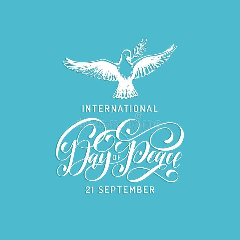 国际和平日,传染媒介手字法 鸠的拉长的例证与一个棕榈分支的在蓝色背景 皇族释放例证
