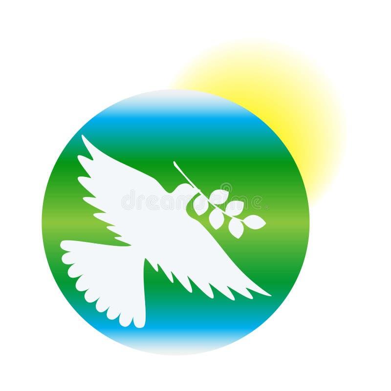 国际和平日,和平鸠以地球和太阳,传染媒介为背景的 向量例证