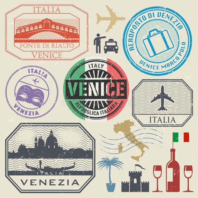 国际商务旅游签证图章设置了,意大利,威尼斯 皇族释放例证