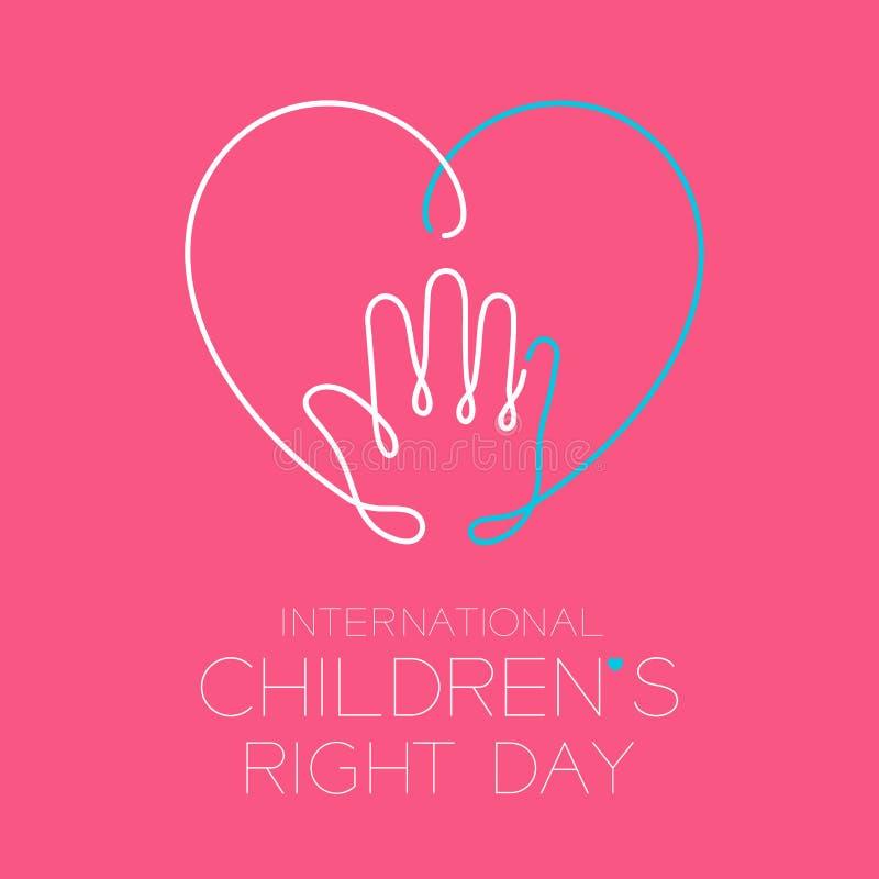 国际在桃红色背景隔绝的儿童的正确的天商标象概述冲程集合、手和心脏设计例证 库存例证