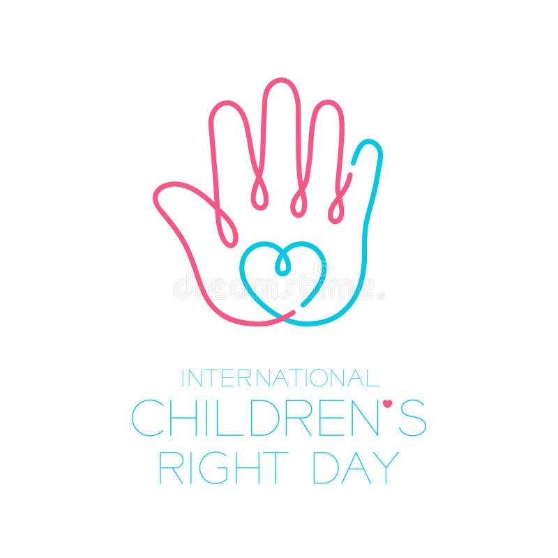 国际在白色背景隔绝的儿童的正确的天商标象概述冲程集合、手和心脏设计例证 向量例证