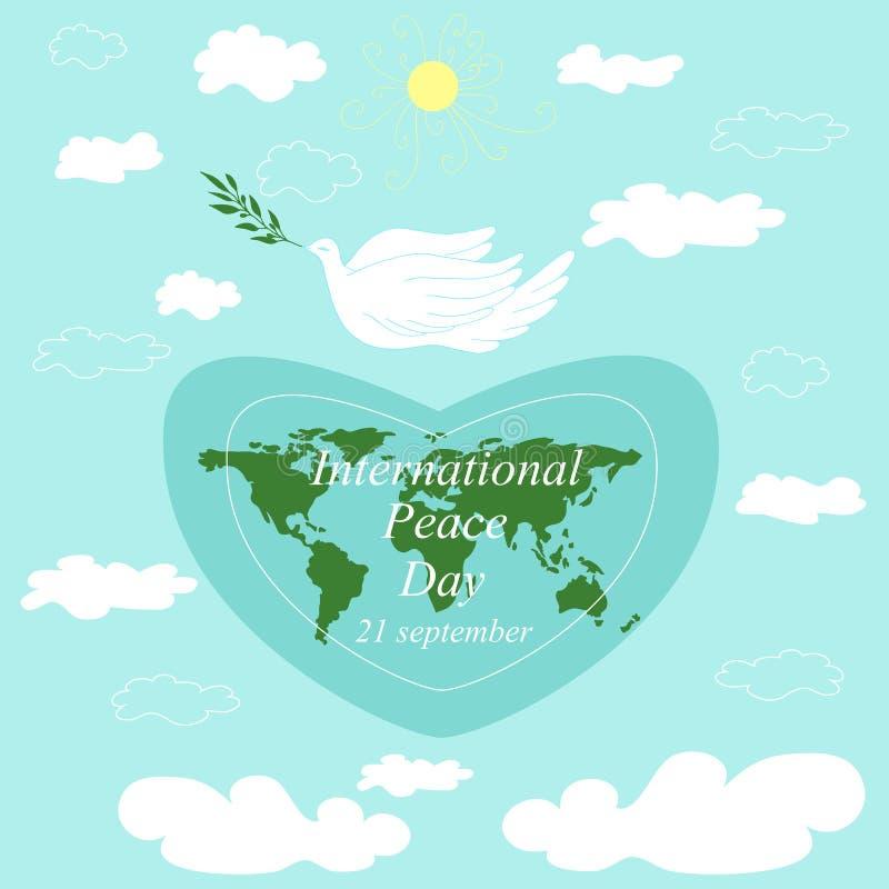 国际天和平 飞行潜水与分支,行星地球我 皇族释放例证