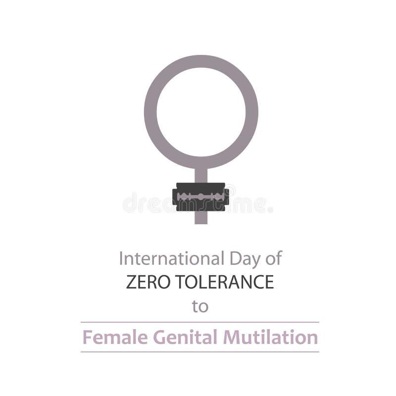 国际天对女性生殖切断的忍无可忍 库存例证