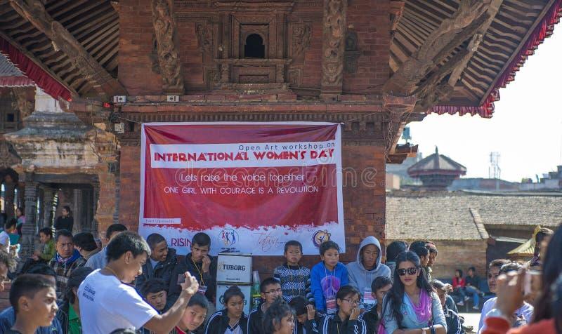 国际妇女天,加德满都,尼泊尔, 2014年3月 免版税库存照片