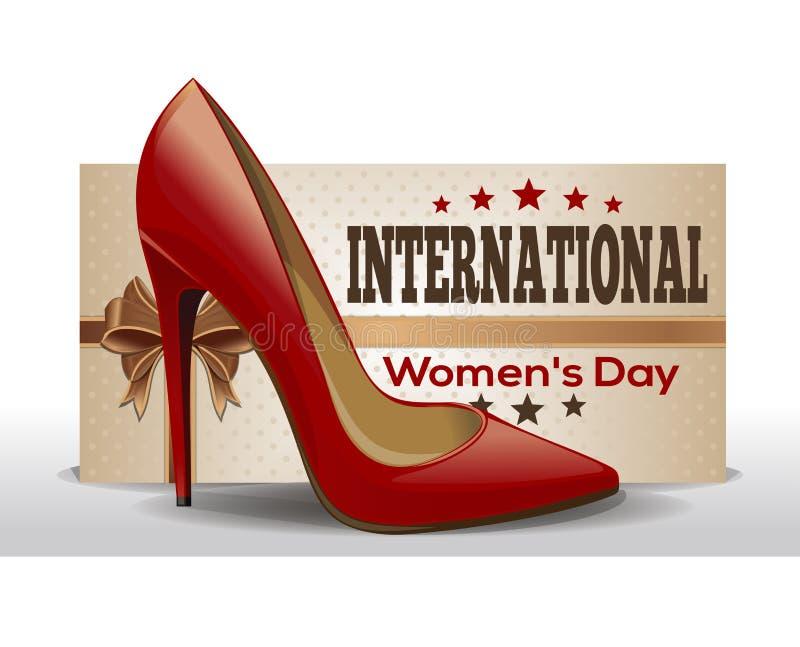 国际妇女日 3月8日 减速火箭的样式贺卡 向量例证