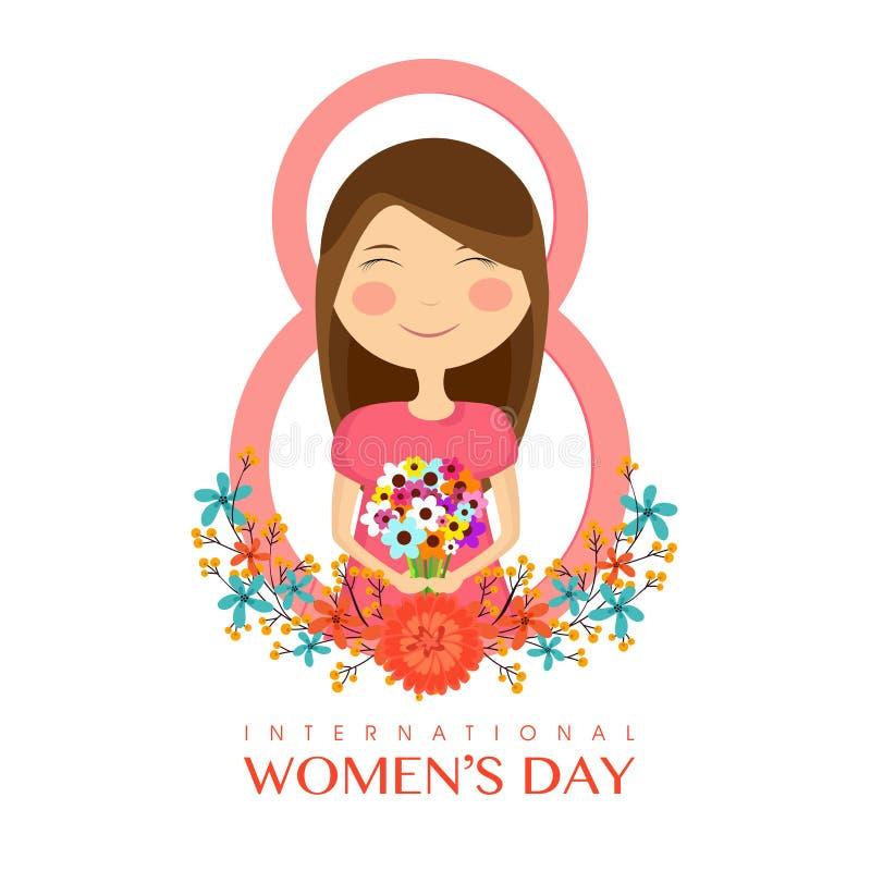 国际妇女节概念的逗人喜爱的女孩 库存例证