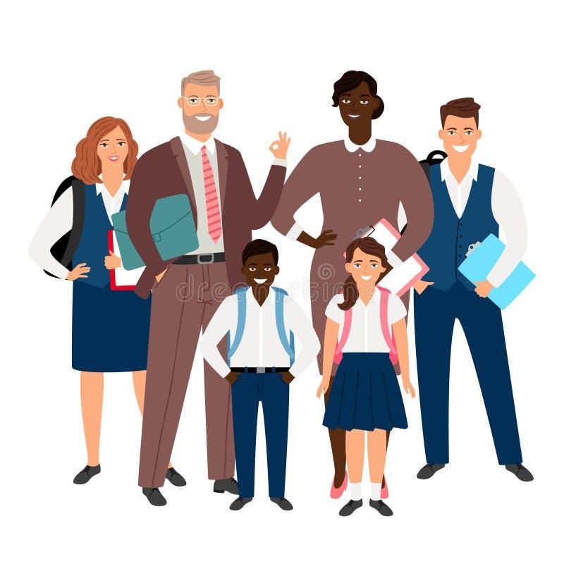 国际学校概念 老师和学生导航例证 皇族释放例证