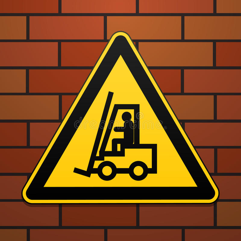 国际安全警报信号 小心地,起重机在砖墙背景的标志 在一个黄色三角的黑图象 向量例证