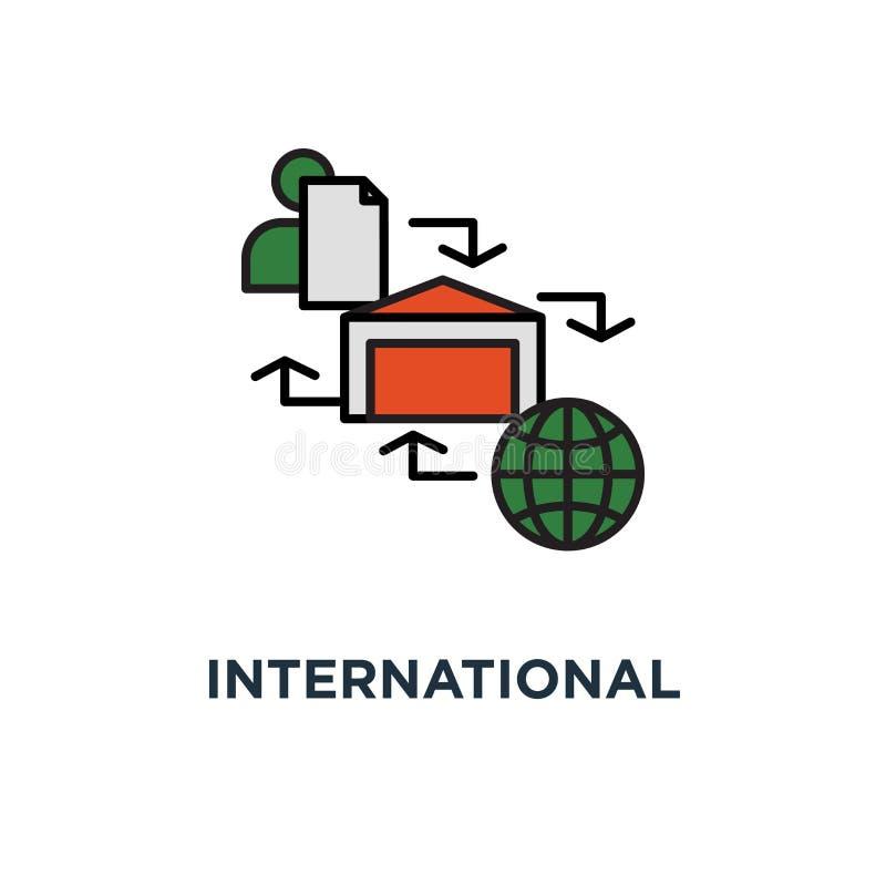 国际小包发货象 全球性运输的节目,供应链,存贮产业概念标志设计,箱子交付 皇族释放例证
