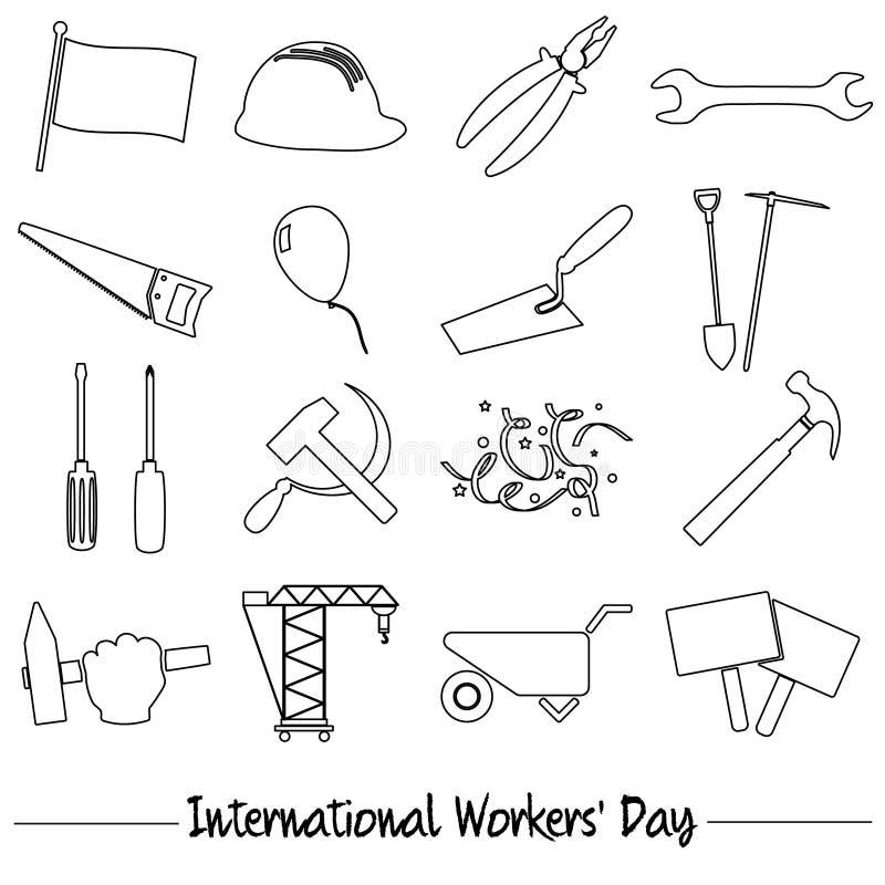 国际工作者天或劳动节题材套概述象eps10 库存例证