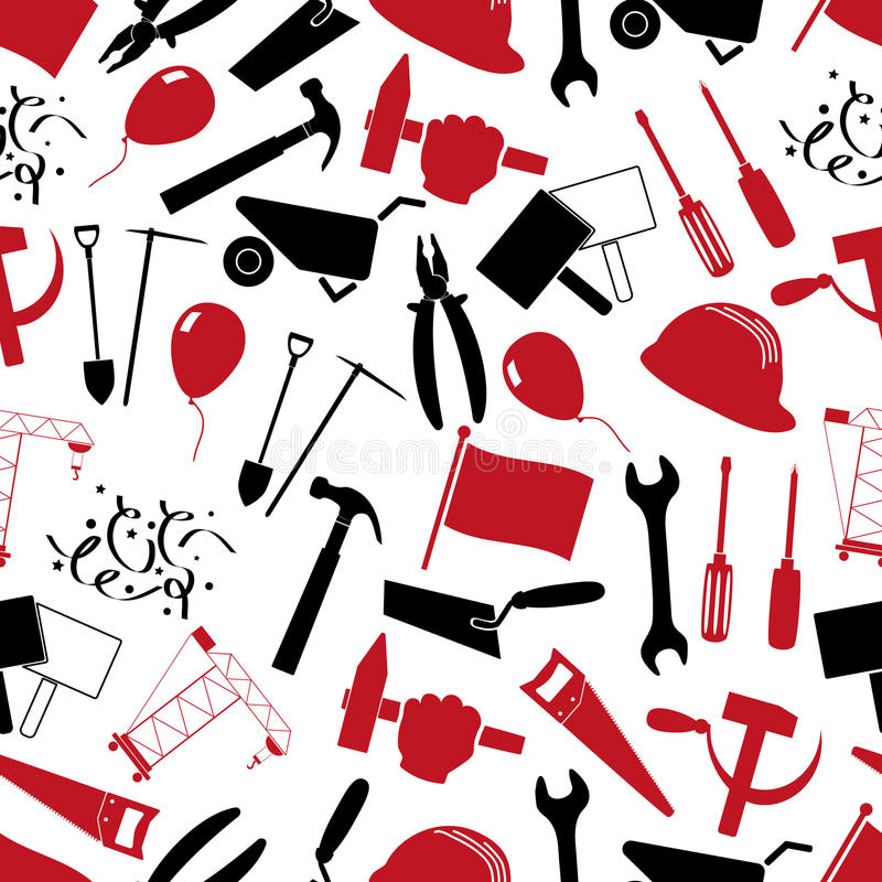 国际工作者天或劳动节题材套红色和黑象无缝的样式eps10 皇族释放例证