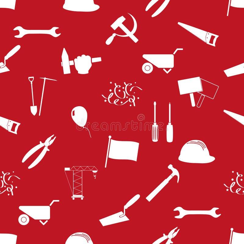 国际工作者天或劳动节题材象无缝的样式eps10 库存例证