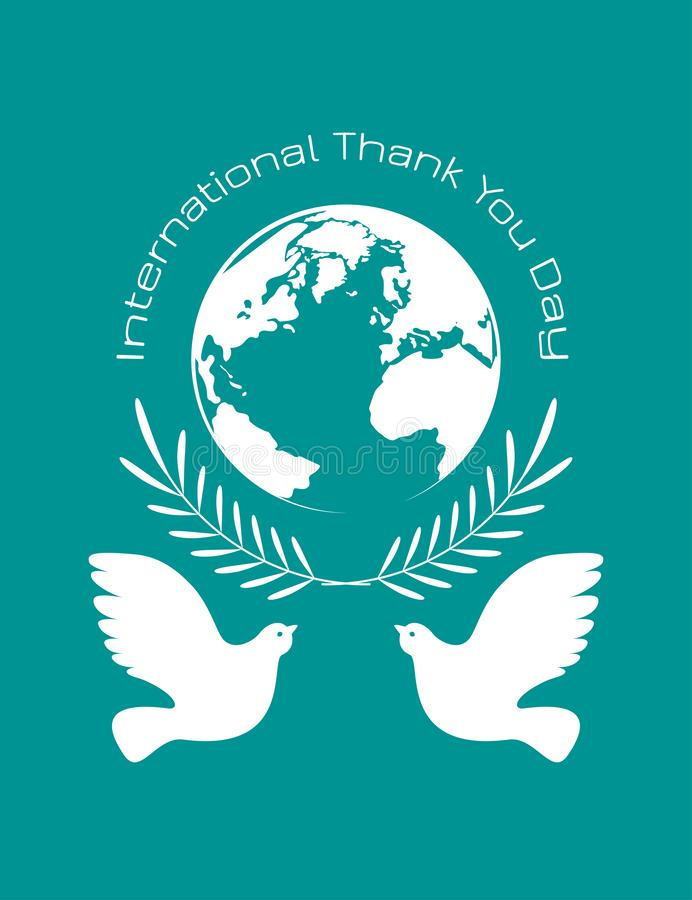 国际性组织感谢您天 行星地球,橄榄树枝,鸽子 向量例证