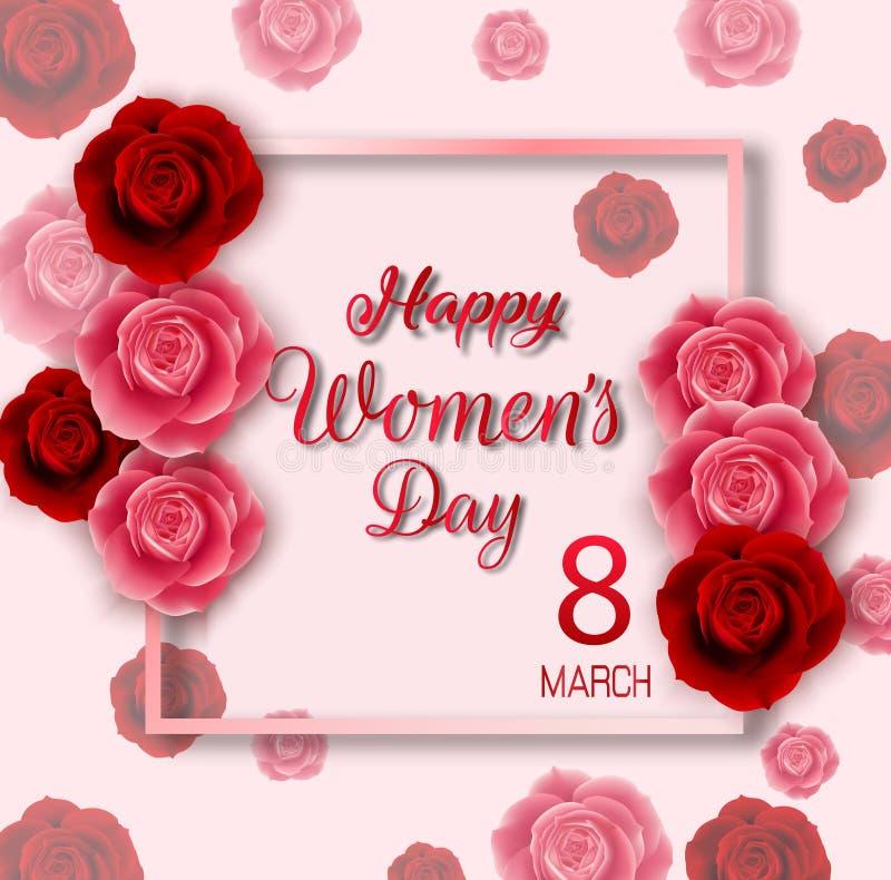 国际愉快的妇女的与红色和桃红色玫瑰的天背景 皇族释放例证