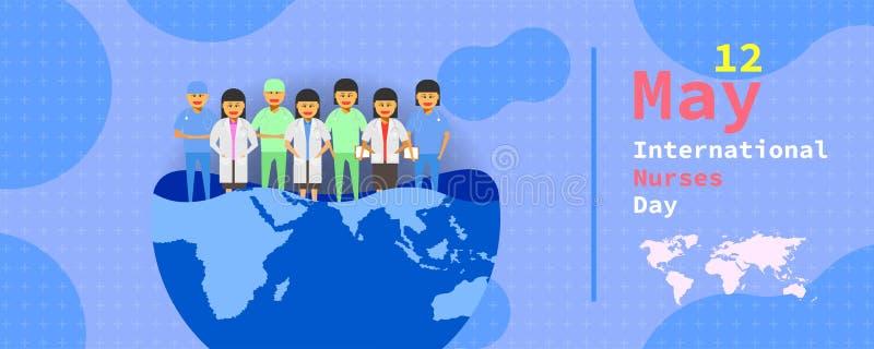 5?12? 国际护士天 在不同一张半地球的地图的女性医生小组立场 传染媒介例证ep10 向量例证