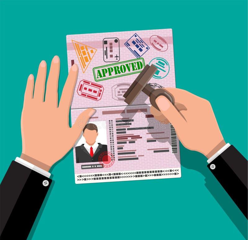 国际护照和邮票在手中 向量例证