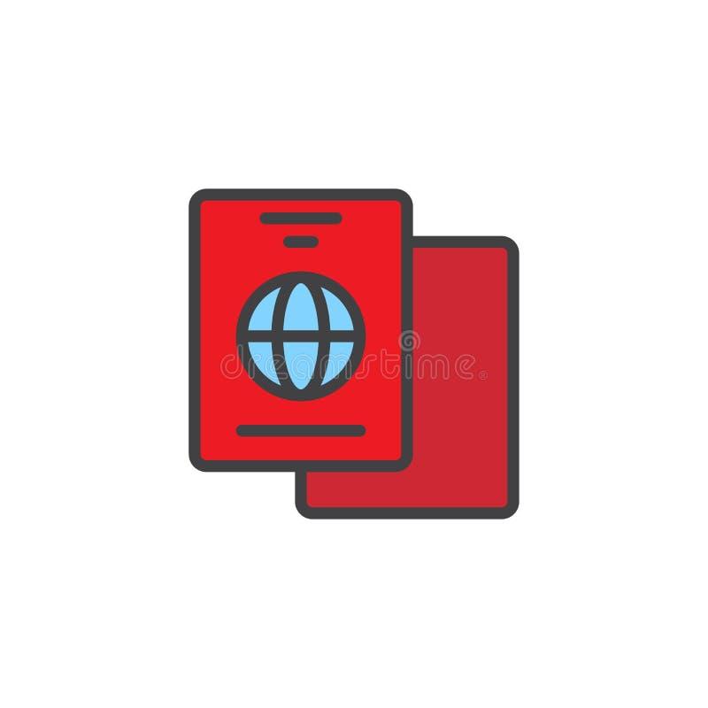 国际护照被填装的概述象 向量例证
