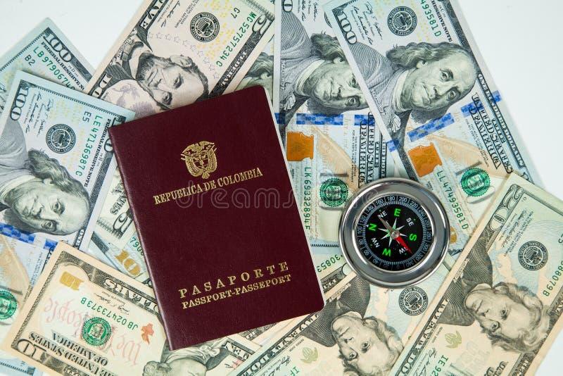 国际指南针以美元在背景中 免版税图库摄影