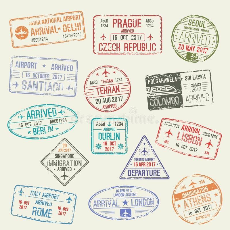 国际旅行签证设计护照邮票  向量例证