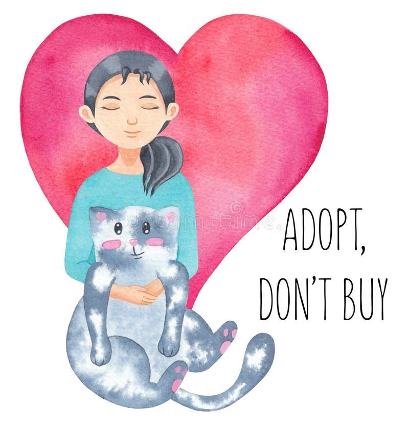 国际无家可归的动物天 拥抱逗人喜爱的猫的女孩 采用宠物 采取,穿上` t购买 水彩例证 免版税库存图片