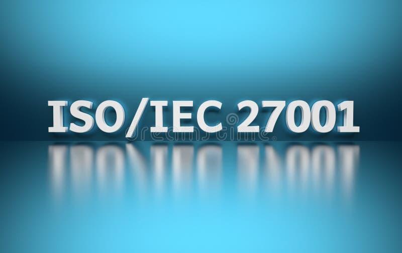 国际标准 词在蓝色背景的ISO/IEC 27001 库存例证