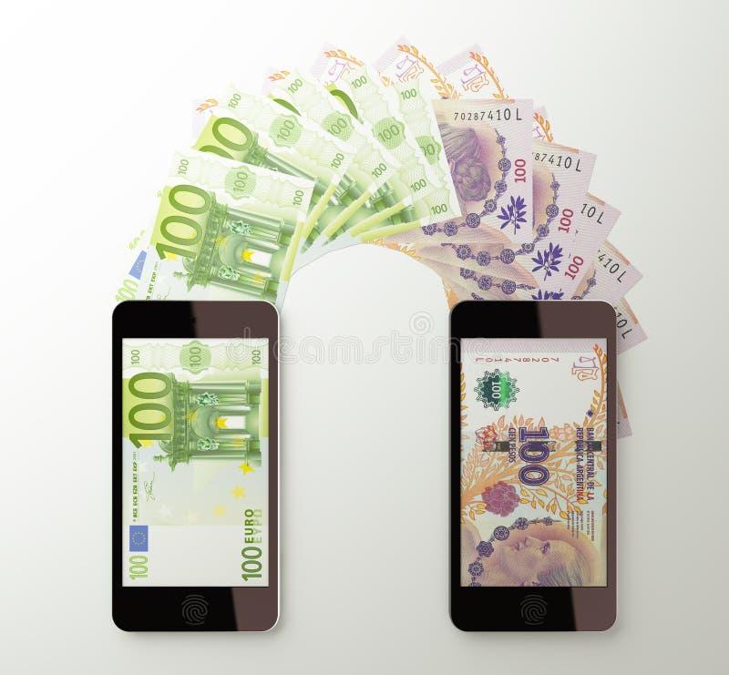 国际流动汇款,欧洲到阿根廷比索 皇族释放例证