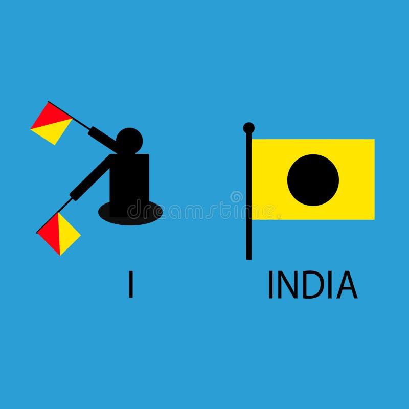 国际海洋令旗,海字母表,传染媒介例证,动臂信号机,通信,印度 库存例证