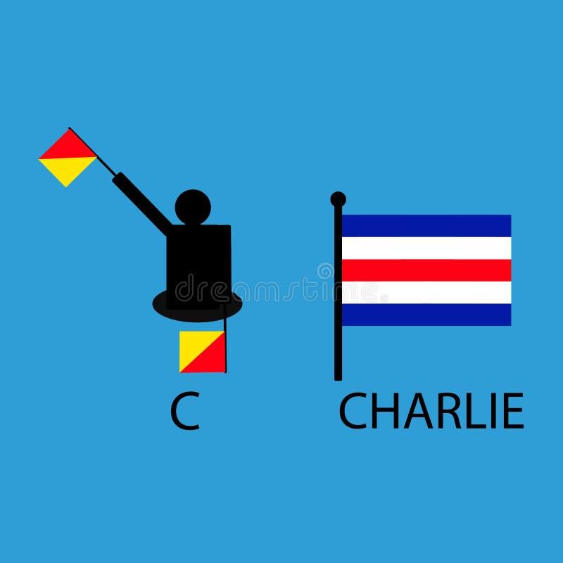国际海洋令旗,海字母表,传染媒介例证,动臂信号机,通信,查理 皇族释放例证