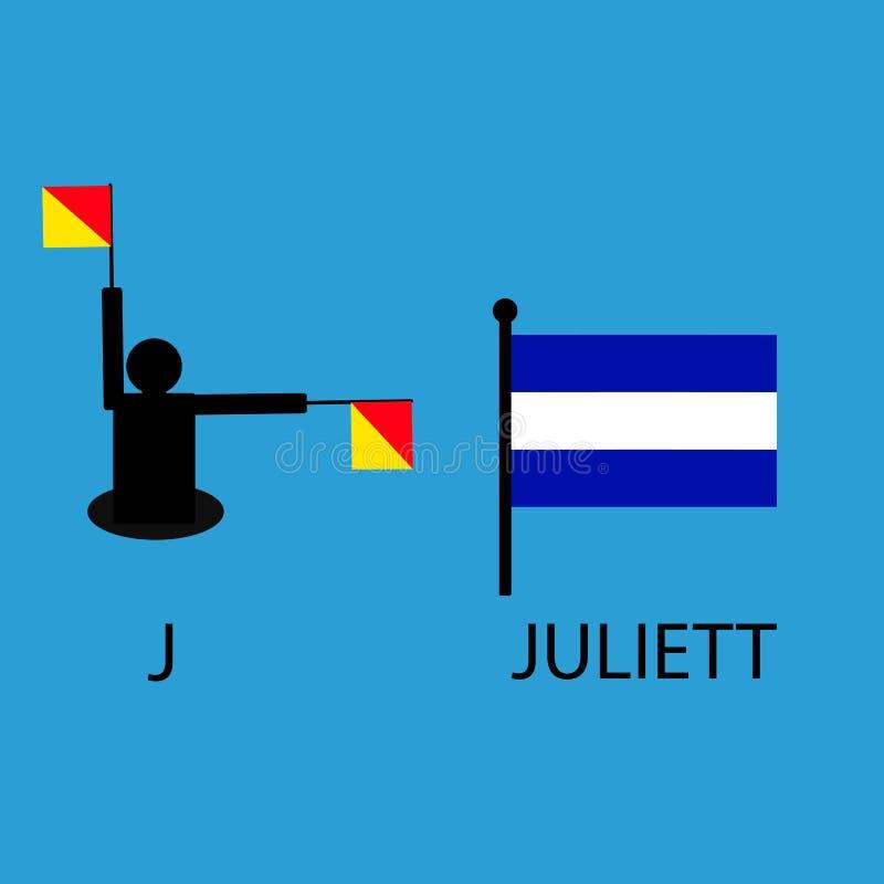 国际海洋令旗,海字母表,传染媒介例证,动臂信号机,通信, juliett 皇族释放例证