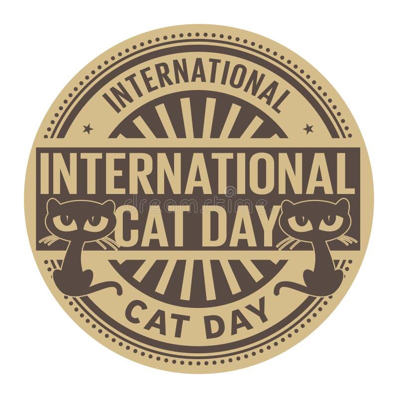 国际猫天,抽象不加考虑表赞同的人 向量例证