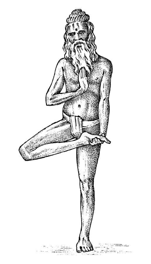 国际瑜伽 全国人在印度文化思考 在Hatha Vrksasana位置,禅宗姿势的字符 皇族释放例证