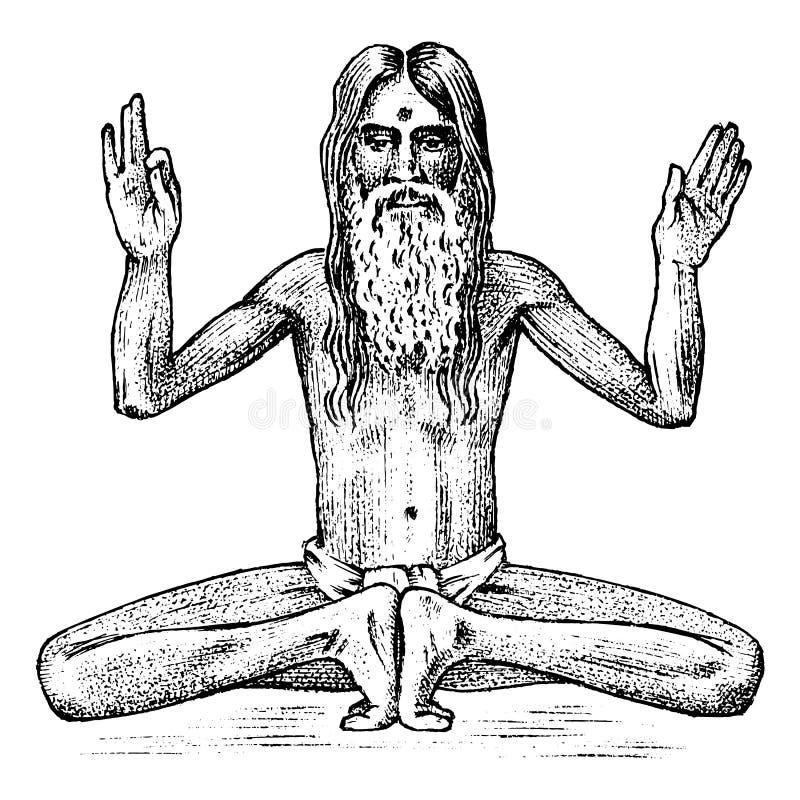 国际瑜伽 思考在莲花坐,禅宗姿势的全国人 文化印地安人 在boho样式的例证为 向量例证