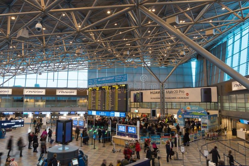 国际终端在赫尔辛基国际机场,芬兰 库存照片
