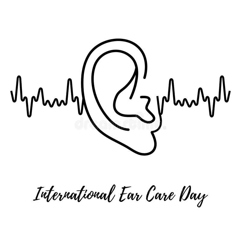 国际耳朵关心天 与人的耳朵的背景 医疗海报设计 也corel凹道例证向量 向量例证