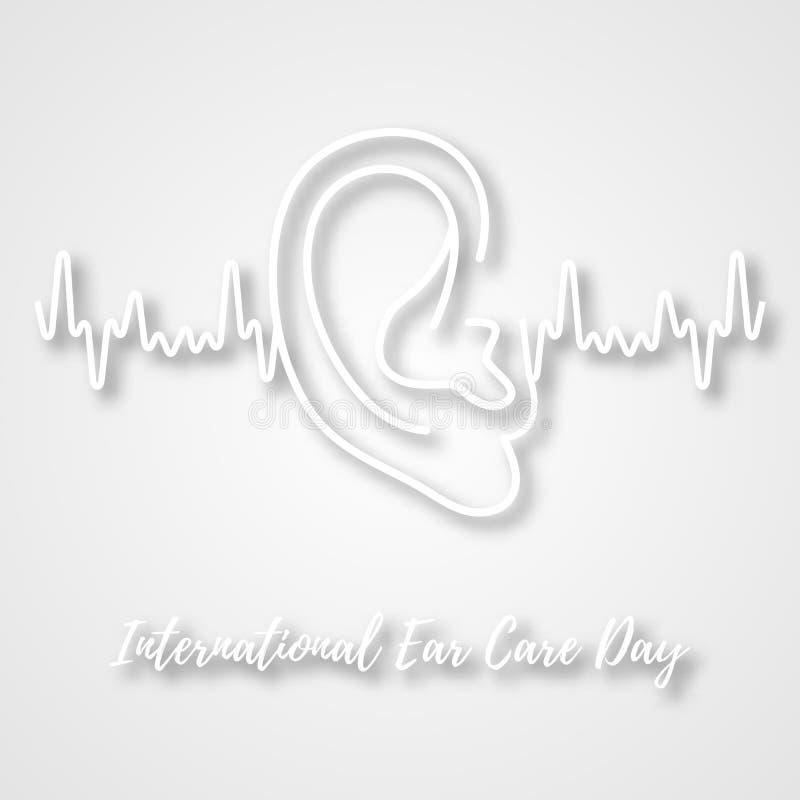 国际耳朵关心天 在白色背景的人的耳朵 医疗海报设计 也corel凹道例证向量 皇族释放例证