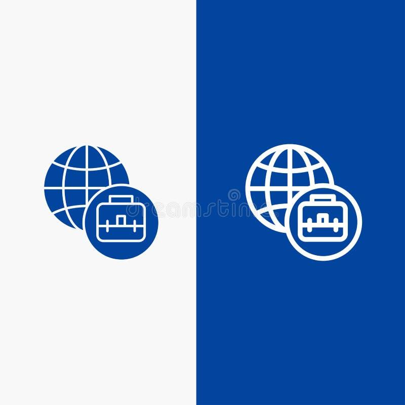 国际行业和纵的沟纹坚实象蓝色旗和纵的沟纹坚实象蓝色横幅 库存例证