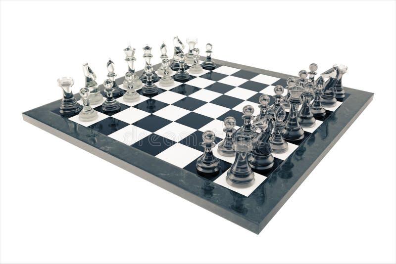 国际象棋棋局,胜利,透明玻璃图,在棋枰, 3d翻译 库存例证