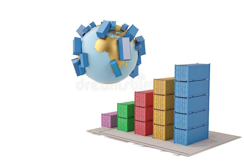 国际贸易地球和企业cha上的概念容器 库存例证