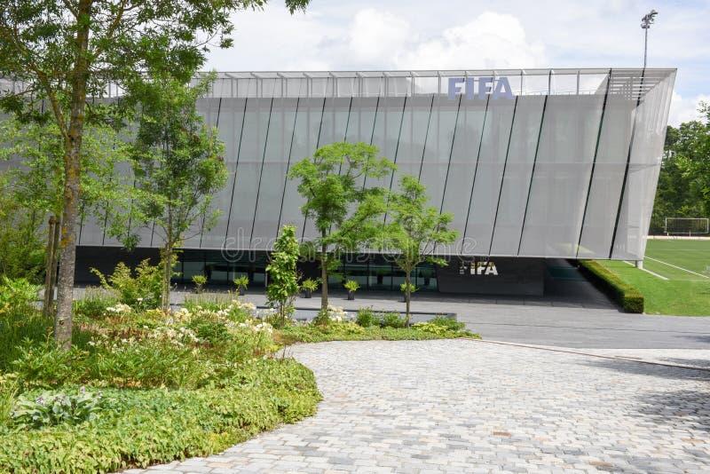 国际足球联合会的总部在瑞士的苏黎世 免版税库存照片
