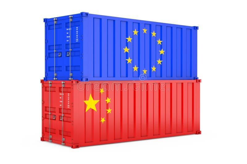 国际运输概念 有欧华旗子的货运容器 3d?? 库存例证