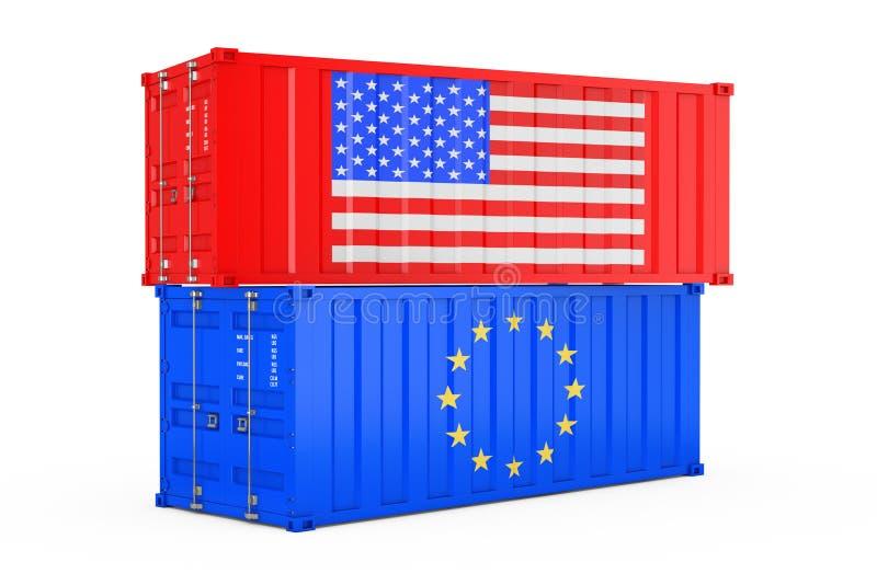 国际运输概念 有美国和欧盟旗子的货运容器 3d翻译 库存例证