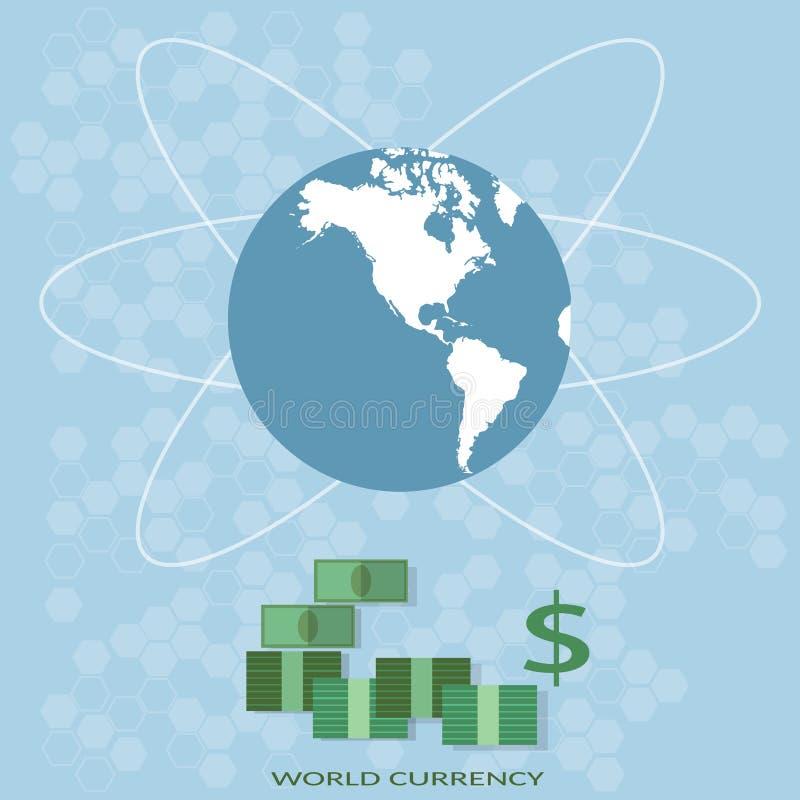 国际金融世界地图全球性货币业务 向量例证