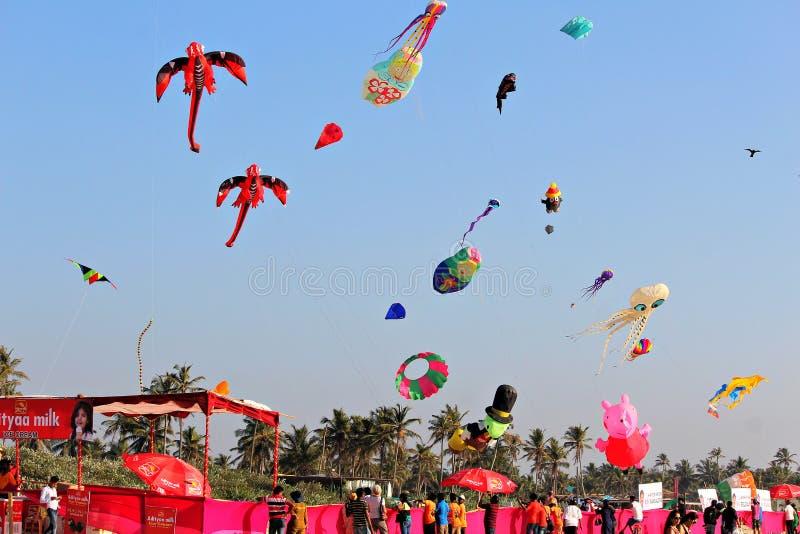 国际风筝节日在Colva,果阿印度 库存图片