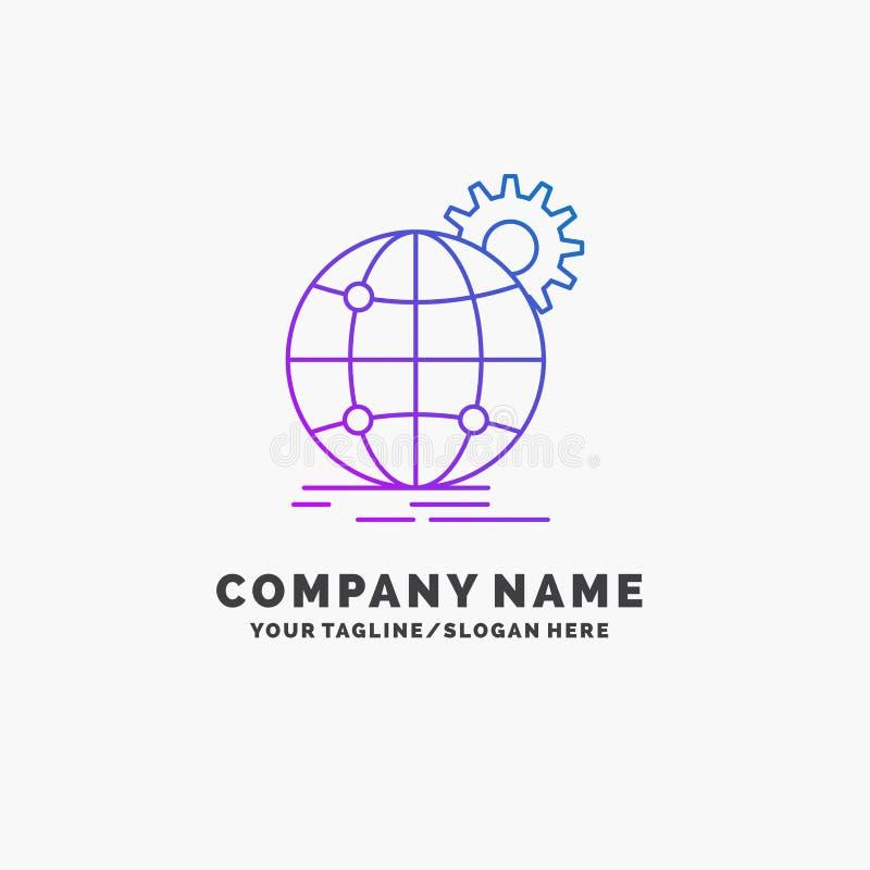 国际,事务,地球,全世界,齿轮紫色企业商标模板 r 库存例证