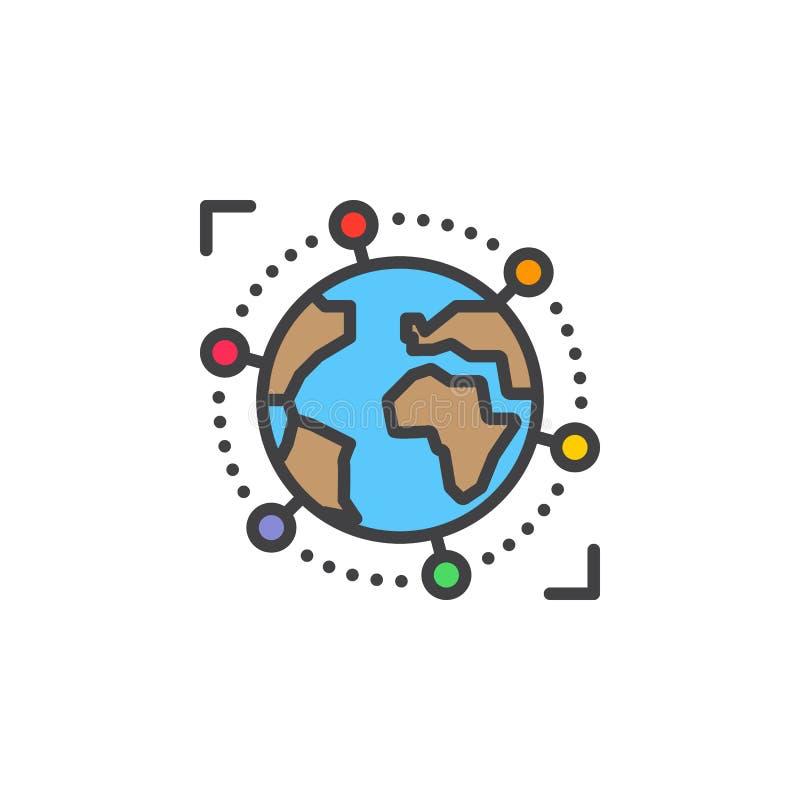国际,全球企业线象,被填装的概述传染媒介标志,在白色隔绝的线性五颜六色的图表 向量例证