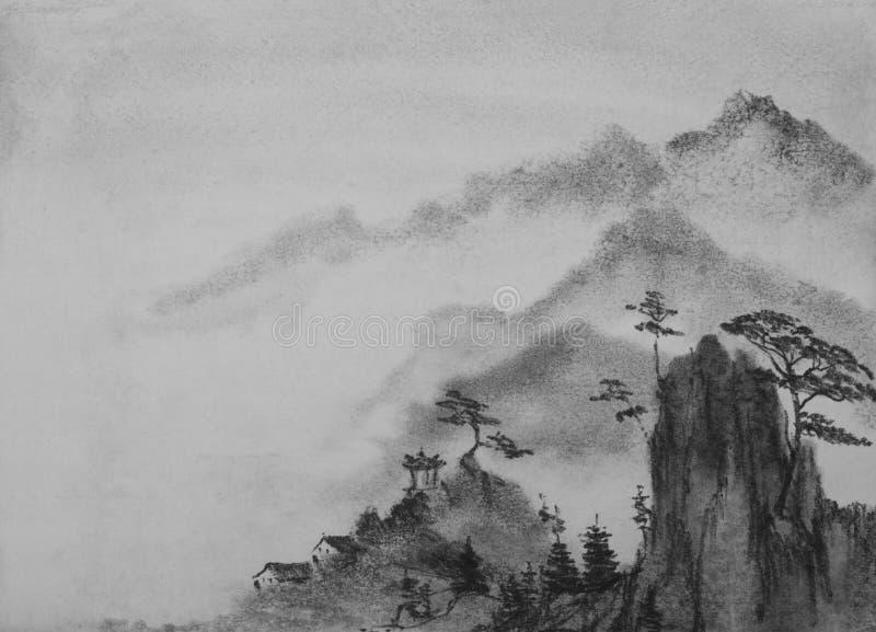 国画山和云彩 向量例证