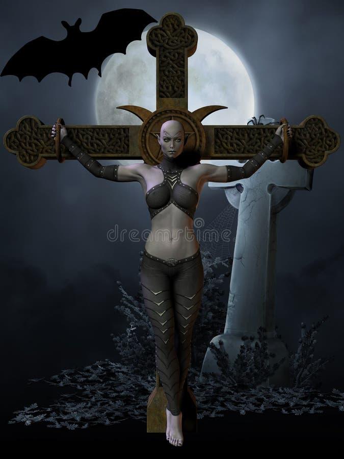 图万圣节猎人吸血鬼 向量例证