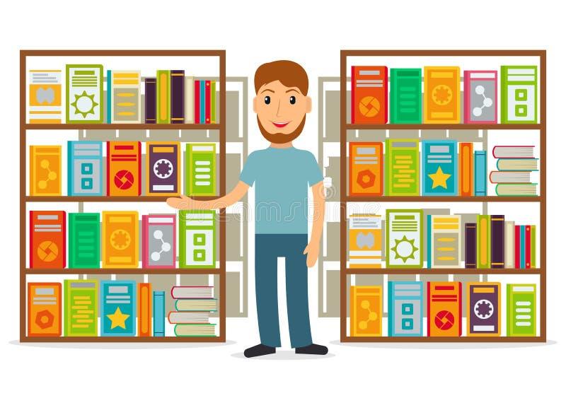 图书管理员或卖书者反对架子与书 库存例证